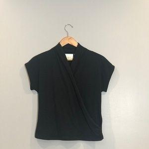 Anthropologie Black Short Sleeve Wrap Top